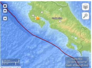 Fuerte temblor sacude Costa Rica