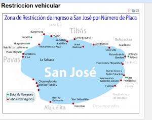 Las zonas restringidas según el mapa MOPT. (Mapa 1)