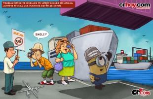 crToons: Trabajadores de muelles de Limón siguen en huelga; Japdeva afirma que puertos están abiertos