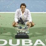 El saque de Federer apuntilla a Djokovic para ganar Dubai por séptima vez